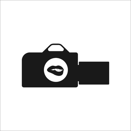 erotic: Video camera filming erotic movie sign simple icon on background Illustration