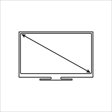 tv screen: Tv screen size sign simple icon on background Illustration