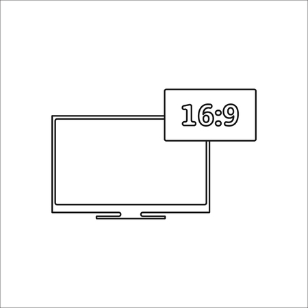 aspect: Aspect ratio 16:9 widescreen tv thinline symbol sign simple icon on background Illustration