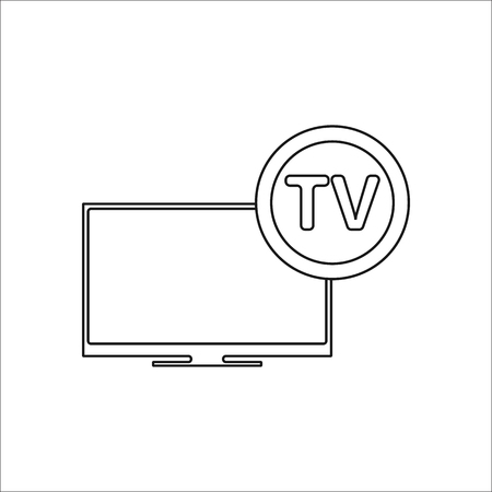 lcd: Modern tv lcd sign simple icon on background Illustration