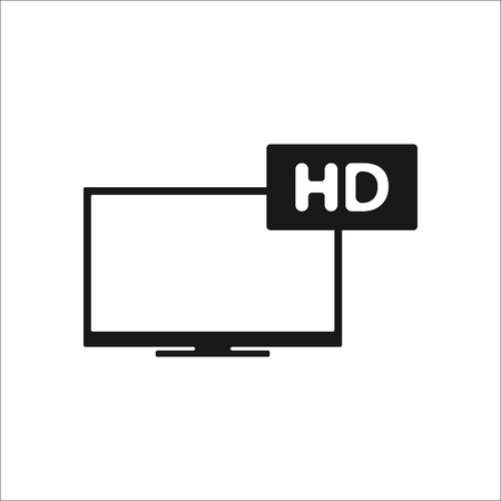 hd: Hd tv sign simple icon on background