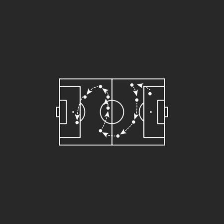 tactics: Football tactics board sign simple icon on background