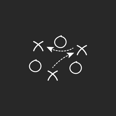 tactics: Sport soccer football tactics strategy simple icon on background