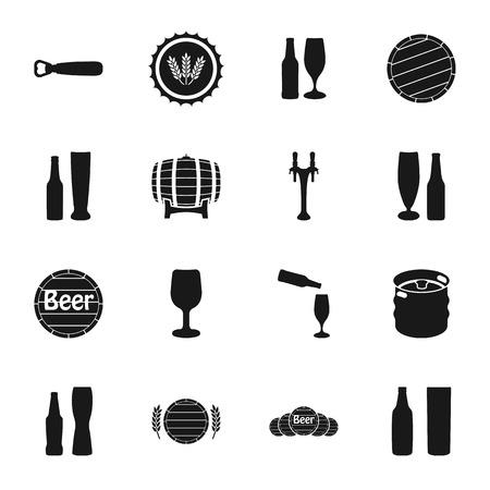pint: Beer vector icons set bottle, glass, pint