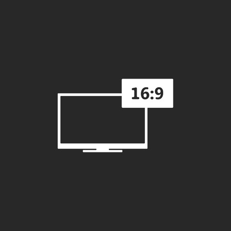 the ratio: Aspect ratio 16:9 widescreen tv symbol sign simple icon on background