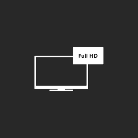 lcd tv: LCD TV FULL HD sign simple icon on background