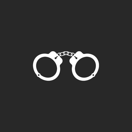 metal handcuffs: Metal Handcuffs sign simple icon on background