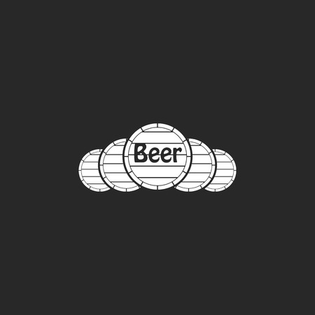 tun: Wooden beer barrels sign simple icon on background