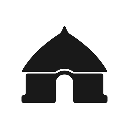 traditional house: African local traditional house sign simple icon on background Illustration