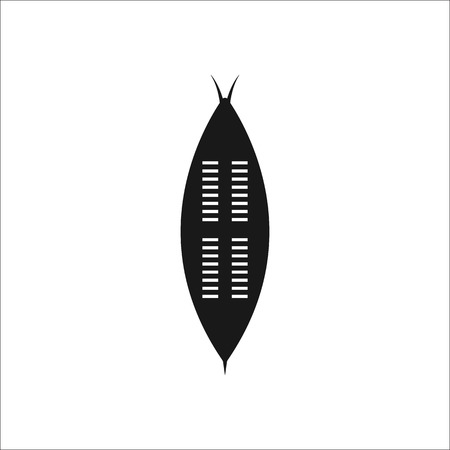 zulu: African zulu shield sign simple icon on background Illustration