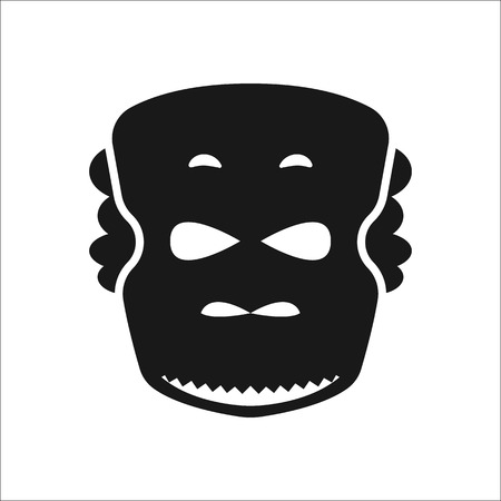 aborigine: The African mask sign simple icon on background