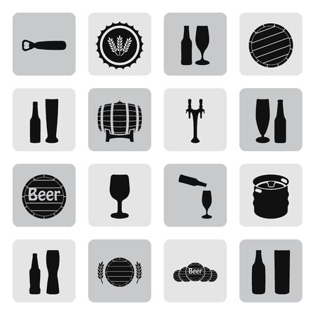 pint: Beer vector icons set bottle, glass, pint