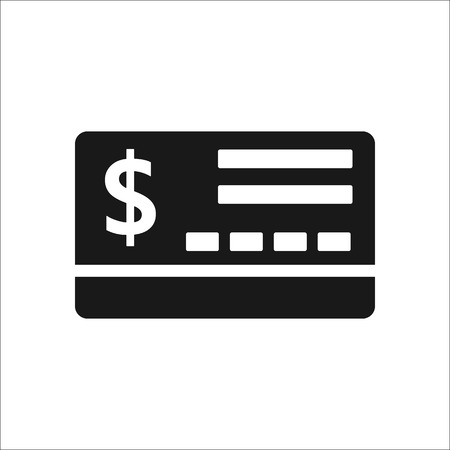 transact: Bank credit card sign simple icon on background