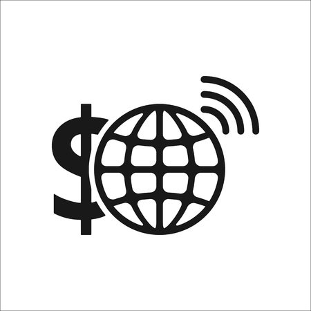 remittance: E-banking dollar sign simple icon on background Illustration
