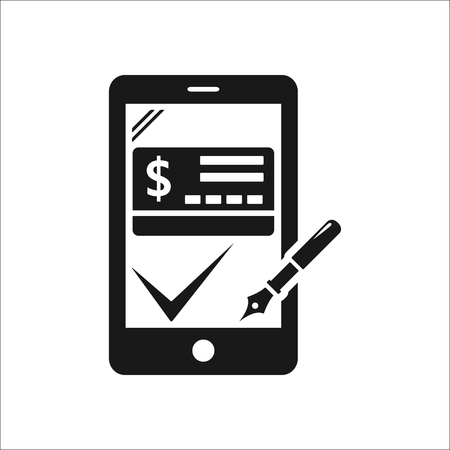 approved sign: Online mobile payment approved sign simple icon on background Illustration