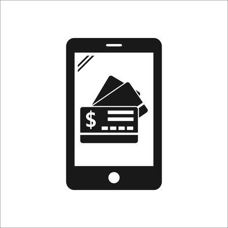 transact: Bank credit cards online banking sign simple icon on background Illustration