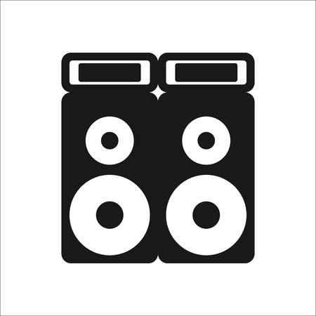 soundsystem: Festival sound system speaker sign simple icon on background Illustration