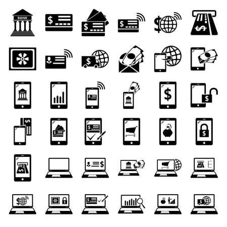 E-Banking. Mobile banking icons set. Pay by mobile. E-commerce. icon set on background