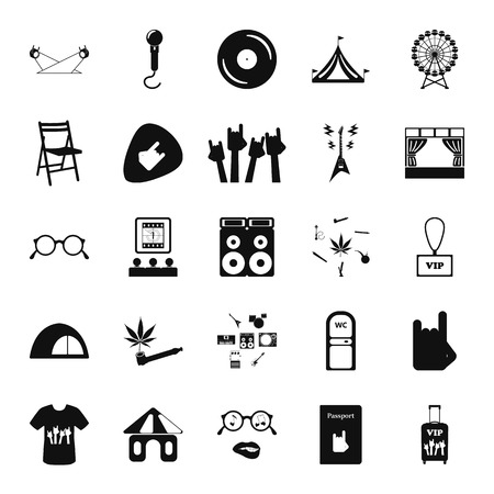 Music festival, live concert icon set on background Illustration