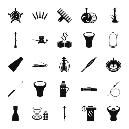 Set of hookah icons. Waterpipes, tobacco, charcoal and accessories icon set on background Illustration