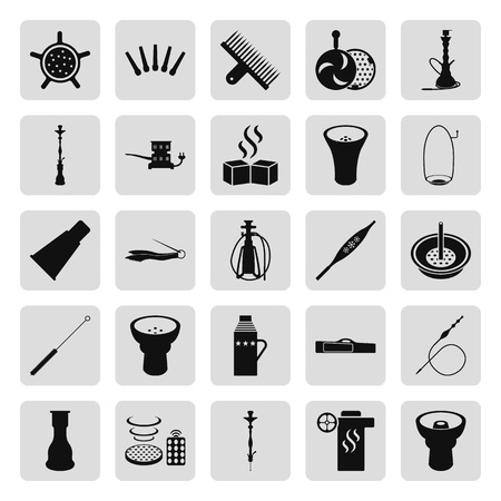 Set of hookah icons. Waterpipes, tobacco, charcoal and accessories icon set on background