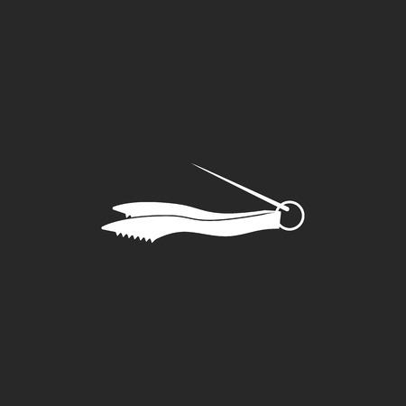 Hookah tweezers sign simple icon on background