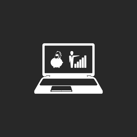 roth: E-banking profit graphic online laptop sign simple icon on background Illustration