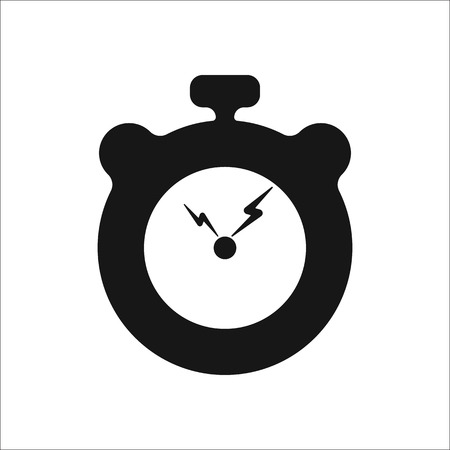physical education: Physical education stopwatch with lightning school subject sign simple icon on background