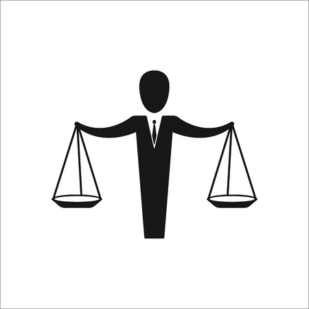 lawsuit: Jurisprudence Justice school subject sign simple icon on background