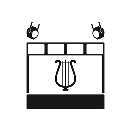 playschool: Drama school subject sign stage simple icon on background