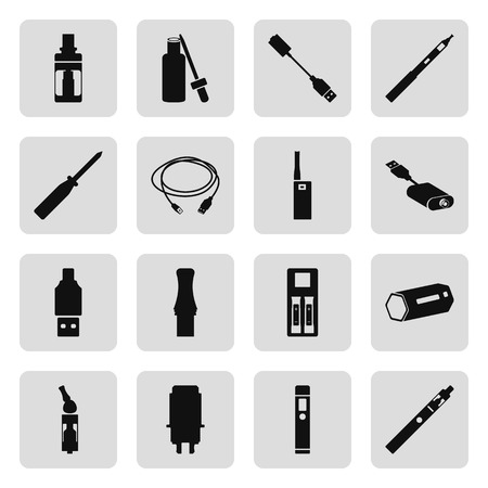 e cig: Vape electronic cigarette icon set on background