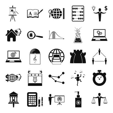 orthography: School Subjects silhouette simple icon set on background