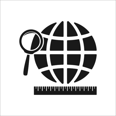 parallel world: Globe and loupe and ruler symbol sign simple icon on background Illustration