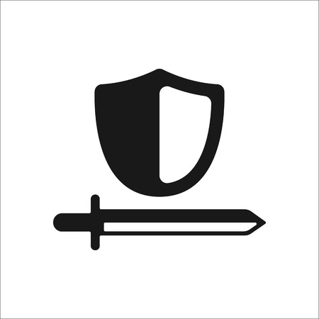 honour guard: Shield with sword symbol sign simple icon on background