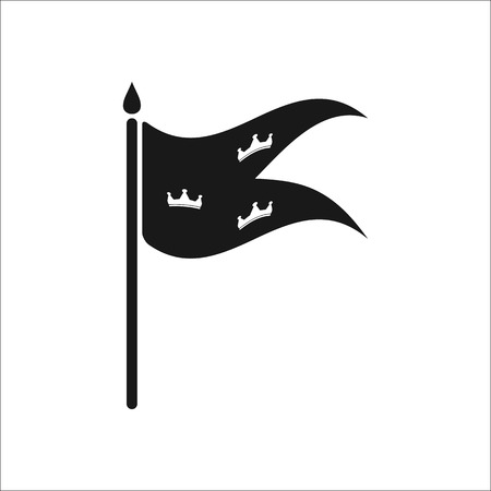 Flag with three crowns symbol sign simple icon on background