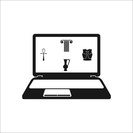 architectural firm: Antique column amphora ankh on laptop screen symbol sign simple icon on background