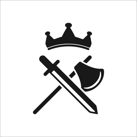 Sword axe crown symbol sign simple icon on background Illustration