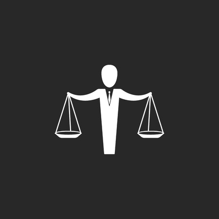 conviction: Jurisprudence Justice school subject sign simple icon on background