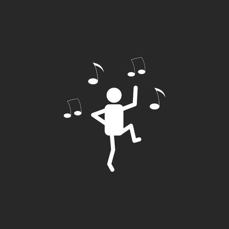 male ballet dancer: Dance school subject sign simple icon on background