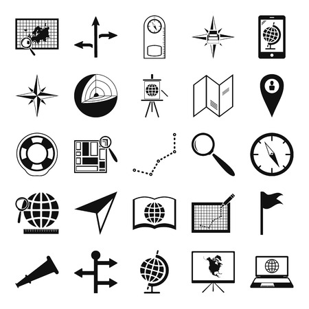 geography: Geography black simple icon set on background