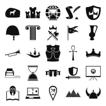 european culture: History and culture simple icon set on background