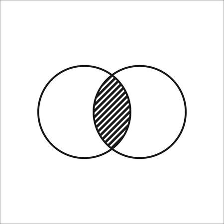 math icon: Geometry math two circles symbol sign simple icon on background