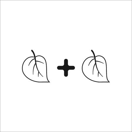 math icon: Math leaf plus leaf symbol sign simple icon on background