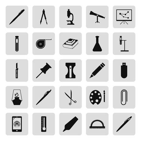 clerical: School and clerical tools simple icon set on background