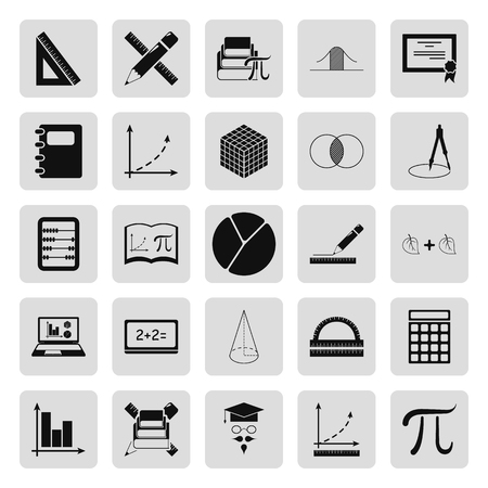 math icon: Math and geometry silhouette simple icon set on background