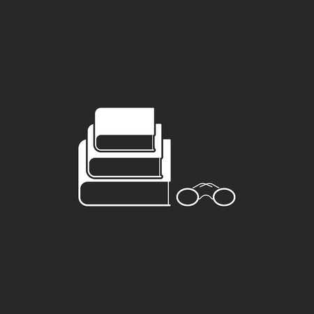 magazine stack: Books and glasses symbol sign simple icon on background Illustration