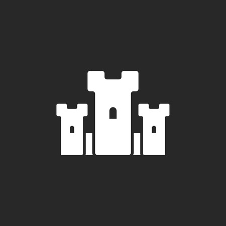 chateau: Castle symbol sign simple icon on background Illustration