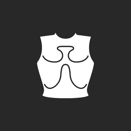 armour plating: Old iron cuirass symbol sign simple icon on background