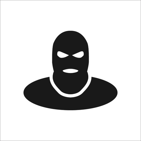 hostage: Terrorist thief in balaclava symbol sign simple icon on background Illustration