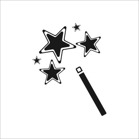 Magic wand with stars symbol sign simple icon on background Illustration